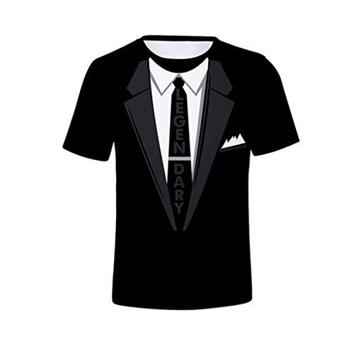 Luckycat T-Shirt 3D Druck Krawatte Festliches Shirt Smoking Sakko Anzug Sommer Beiläufige Grafik Kurzen Ärmeln Print Schmale Passform 3D Druckten Sommer-beiläufige Kurze Hülsen-T-Shirts T-Stücke