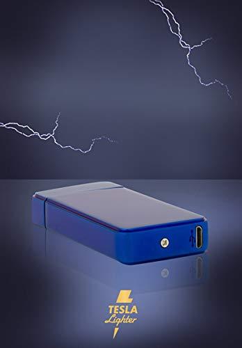 TESLA Lighter T11 Lichtbogen Feuerzeug, Plasma Double-Arc, elektronisch wiederaufladbar, aufladbar mit Strom per USB, ohne Gas und Benzin, mit Ladekabel, in Edler Geschenkverpackung, Blau -