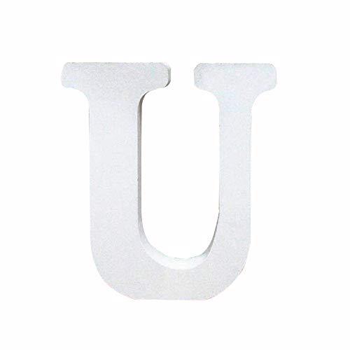 Holzbuchstabe Buchstabe, Toifucos A-Z DIY Englisch Alphabet Holz Buchstaben Handwerk Ornamente für Zuhause Hochzeit Geburtstagsfeier Dekoration Zubehör, Weiß 1 pcs U