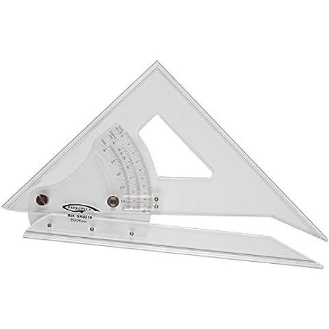 Graphoplex - Escuadra/transportador de ángulos ajustable de 45º a 90º (bordes antimanchas), color