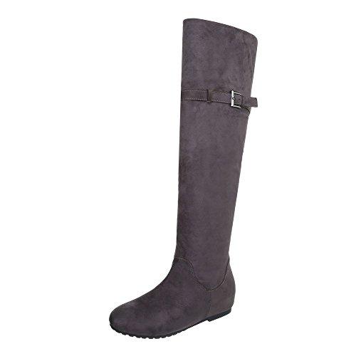 Ital-Design Overknees Damen-Schuhe Klassischer Stiefel Keilabsatz/Wedge Keilabsatz Reißverschluss Stiefel Grau, Gr 37, Zy9159-