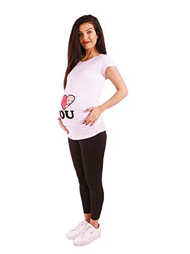 M.M.C. I Love You - Lustige witzige süße Umstandsmode/Umstandsshirt mit Motiv für die Schwangerschaft/T-Shirt Schwangerschaftsshirt, Kurzarm Weiß