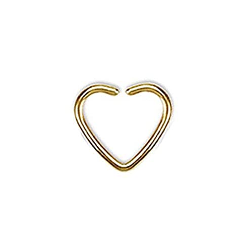 1 x Gold Titanium Plated Single Closure Heart Shaped Fake Ear Cuff Tragus or Cartilage Non Piercing  Material : Surgical Steel