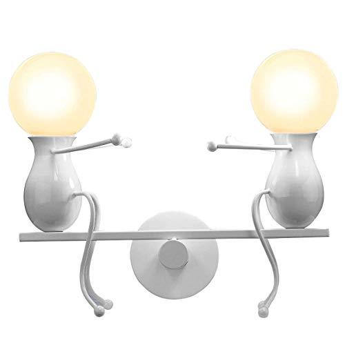 Humanoid Kreative Wandleuchte Moderne Wandlampe LED Einfache Kerze Wandleuchte Art Deco Max 60W E27 Basis Eisen Halter für Schlafzimmer, Wohnzimmer, Bett, Treppe, Flur, Restaurant, Küche -