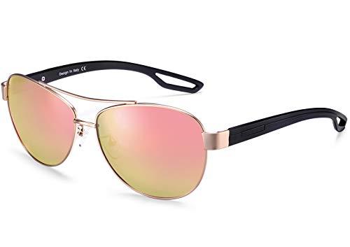 Carfia UV400 Schutz Polarisierte Damen Herren Sonnenbrille Pilot Brille für Fahren, Freizeit und Reise (Damen/Rahmen: Gold; Linsen: Pink)