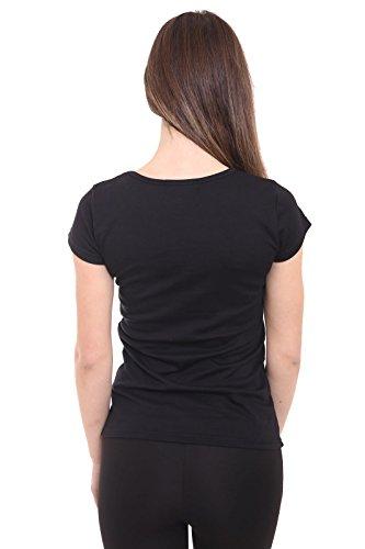 Fashion Essentials-Ladies Rock N Roll Star Motorrad Printed Choker Neck T-Shirt-Kleid Black