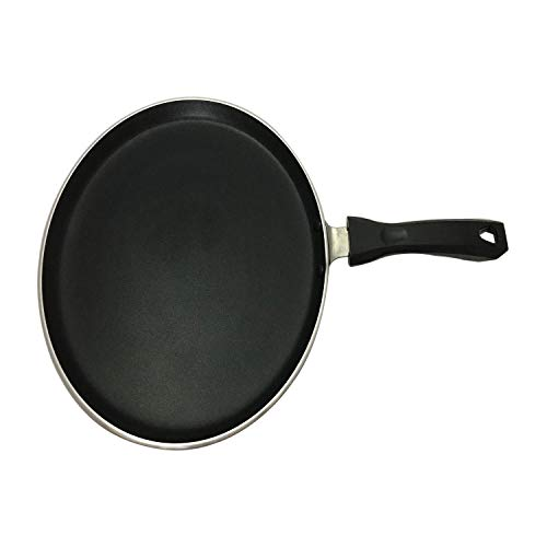 G&D Nonstick Hard-Anodized Dosa Pan Cookware Pan Dosa Tawa Indian Style Round Griddle Non-Stick Flat Thickness 4 mm Size 11 Inches (Black Color)