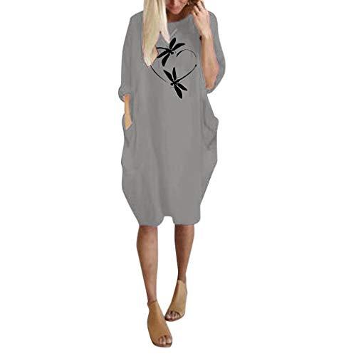 Floweworld Damen Langarm Kleider Fashion Rundhals Solide Printed Casaul Kleider Kurze Kleider Damen Mini Kleider mit Taschen (Tom Cruise Kostüm Frauen)