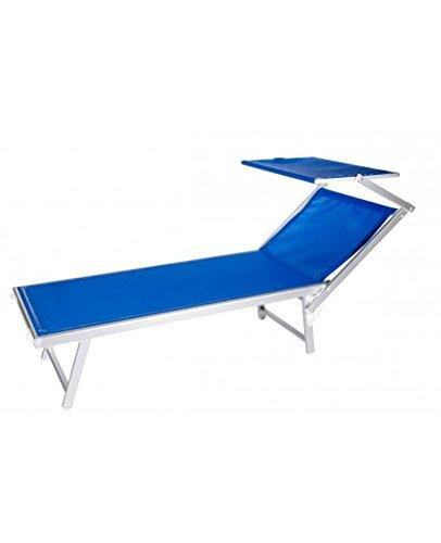VERDELOOK Lettino da Mare con Parasole, Struttura in Alluminio Telo in textilene,186x61x38 cm, Colore Blu