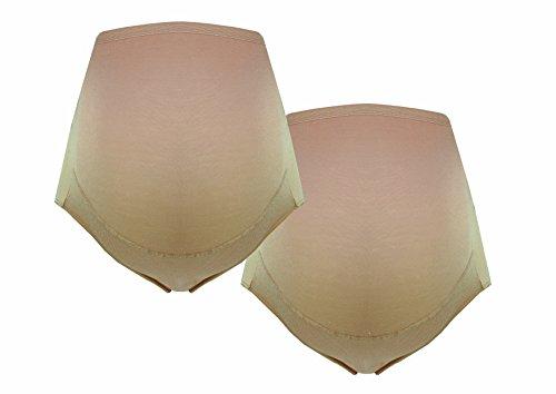 Umstandsslip-Schwangerschaftsslip-Überbauchslip für Damen, im Einzelpack-Doppelpack-Set, aus Baumwolle-Modal, in Schwarz und Beige von HERZMUTTER (5100) (XL im Doppelpack, 2x Beige) (Unterwäsche 2x Damen)