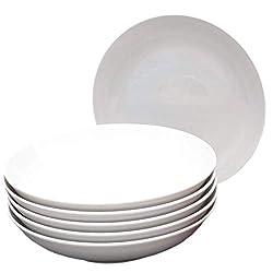 Kahla 39F191A90039C Five Senses Geschirr Tellerset für 6 Personen Porzellanteller 6-teilig Suppenteller Tiefe Teller rund weiß Schale ohne Dekor