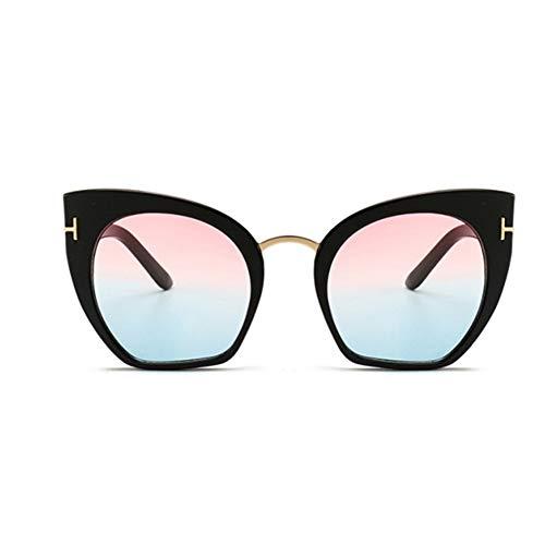 RZRCJ Modedesigner Cat Eye Sonnenbrille Frauen Übergroße Sonnenbrille Damen Vintage Female Gradient Point (Lenses Color : PINK)