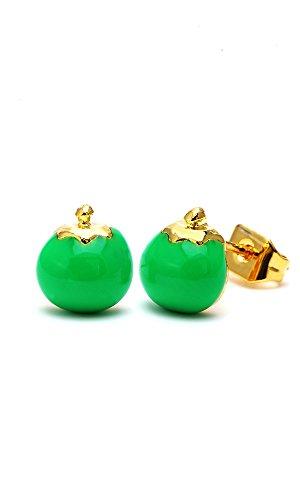 Chic-Net Brass Boucles d'oreille tomate 8mm Multicolore Or émail sans Nickel laiton vert