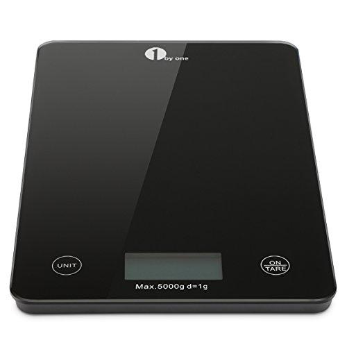 1byone Bilancia Elettronica da Cucina Digitale per Casa e Alimenti con LCD display, Funzione Tara, Autospegnimento, Vetro Temperato Nero, 5kg/11lb