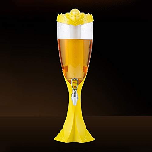 Bier-turm-spender (Jueven Weinfass, bunte leuchtende Weltcup-Bierfass-Wein-Spalten-Wein-Turm-Wein-Trennzeichen (Color : Yellow))