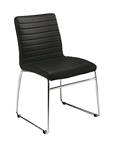 Office Hippo Leather Meeting Stacking Chair - Chrome