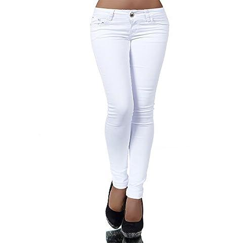 H937 Damen Jeans Hose Hüfthose Damenjeans Hüftjeans Röhrenjeans Röhrenhose Röhre, Farben:Weiß;Größen:34