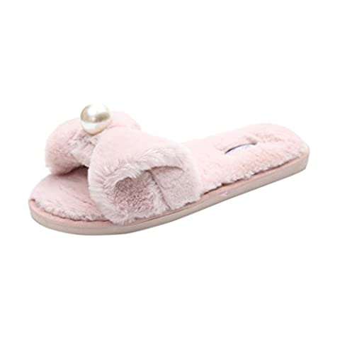 Mules Femmes,Angelof Womens Ladies Slip On Slider Peluches Fourrure Faux Pantoufle à Plat Confortable Et Douce Sandale (35, Rose)