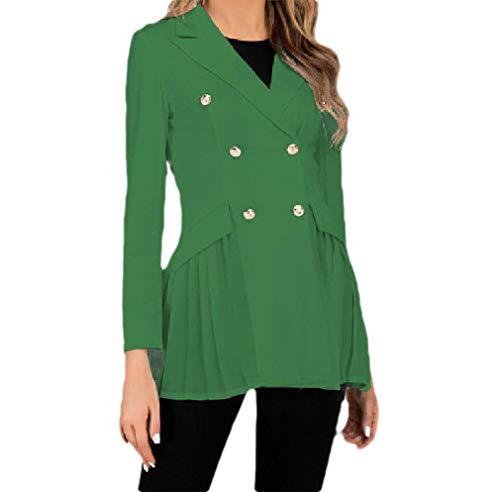CuteRose Womens Double Breasted Fitted Long-Sleeve Office Wear Blazer Jacket Green S -
