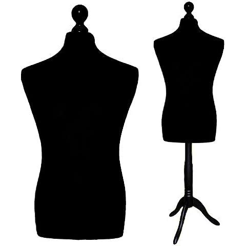 LUK-MAL Maniqui Busto masculino de la talla 50/52 (Size L), Funda en color negro, Base base madera trípode en color negro