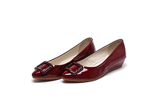 AgooLar Femme Tire Pointu à Talon Bas Pu Cuir Mosaïque Chaussures Légeres Rouge Vineux
