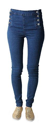 Donna vita alta Waisted sexy da donna con bottoni Denim Jeans blu Blue 44