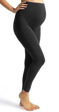 Full Length Heavy Cotton Over Bump Black Maternity Leggings 18-20-22-24-26 (22)