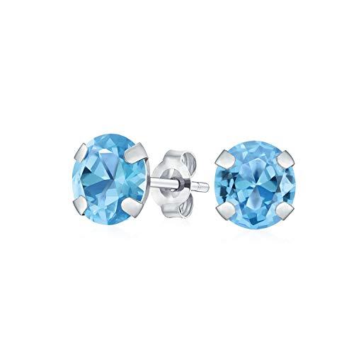 bf46a62d7fd7 Pendientes redondos de topacio azul natural en oro blanco de 14 quilates y  piedras natalicias de