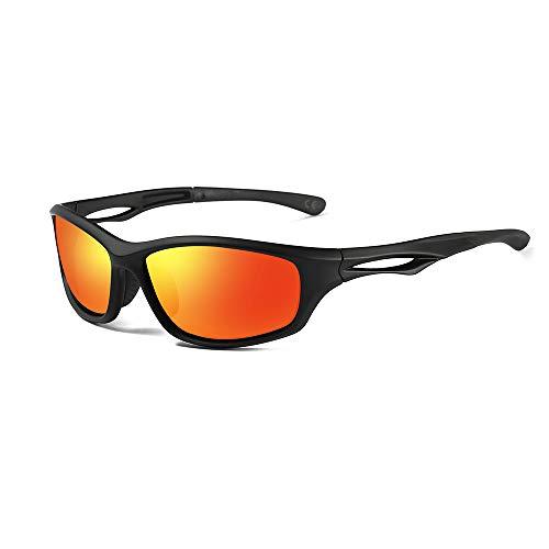 AMZTM Polarisierte Sport Sonnenbrille für Herren & Damen, Laufen Radfahren Angeln Fahren Verspiegelt Sportbrille, Unzerbrechliche Flexibilität TR90 Rahmen(Matte Black Frame, Red Lens)