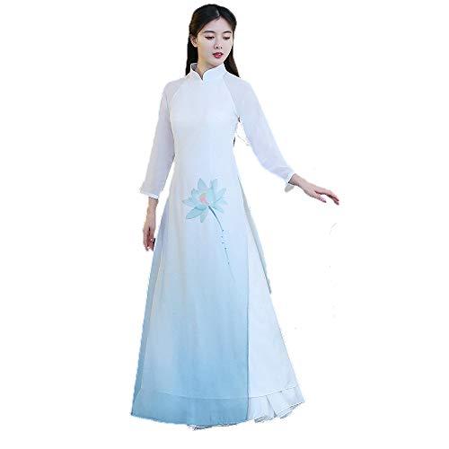 isches Kleid, gesticktes Hanfu für Frauen-Fotoaufnahme-Kleidungs-Cosplay-Tanz-Kostüm-See-Blaue Blumen-Malerei,XL ()