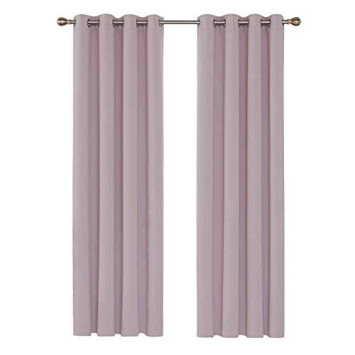 Deconovo Cortinas Opacas de Salón Dormitorio Térmica Aislante y Ruido Reducción con Ojales 2 Piezas 135 x 240 cm Rosa