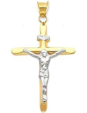 Bicolor Anhänger Kreuz Mit Jesus 14 Karat 585 Gelbgold Weißgold Unisex
