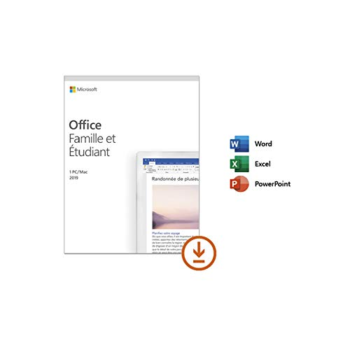 Microsoft Office Famille et Etudiant 2019 - 1 PC ou Mac - achat définitif    Téléchargement