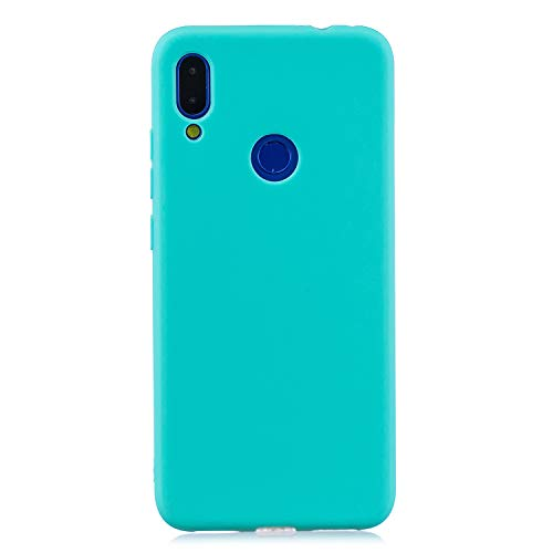 cuzz Funda para Xiaomi Redmi Note 7+{Protector de Pantalla de Vidrio Templado} Carcasa Silicona Suave Gel Rasguño y Resistente Teléfono Móvil Cover-Azul Claro