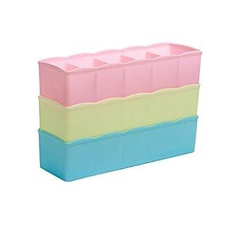 Xuxuou Aufbewahrungsbox Unterwäsche Socken Finishing Box Haushalt Schublade Box 5Einsätze Kunststoff Material kann übereinander gestapelt werden 3Stück pro Set (zufällige Farbe)