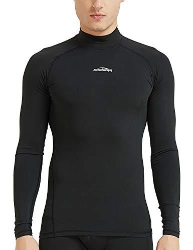 COOLOMG Kompressionsshirt Langarm Funktionswäsche Base Layer Thermowäsche Winter Fitness Laufen Radsport Schwarz XL