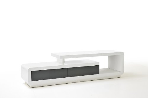 MCA furniture Meuble TV Contemporain Cally laqué Blanc Brillant 2 tiroirs Gris