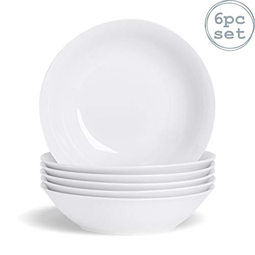 Argon Tableware White Large Porcelain Pasta Salad Bowls - 25cm - Set of 6