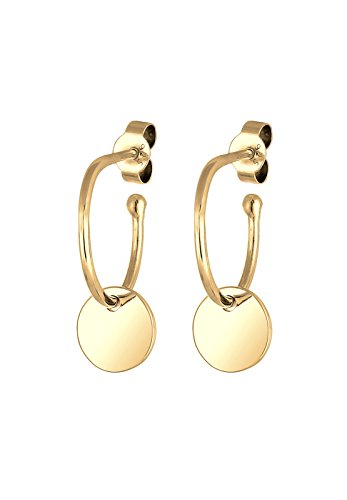 Elli Damen Ohrringe Creole Geo Plättchen Trend Ohrhänger in 925 Sterling Silber