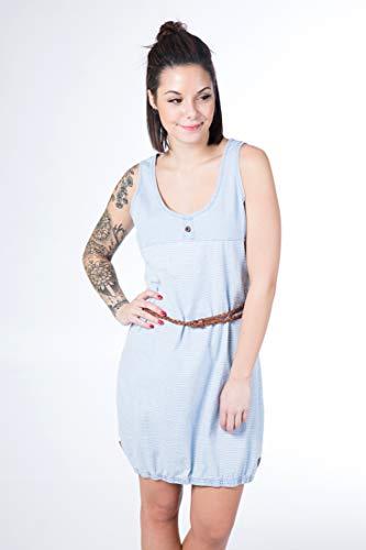 alife and Kickin DOJA D Dress Damen Sommerkleid, Jerseykleid, Strandkleid, Kleid, Light Denim Stripes, L