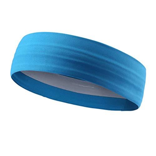Stirnbänder Silikon Guide Anti Rutsch Haarband 82% 18% Spandex Bambusfaser Sport Haarband Yoga Running Dance Fitness Unisex 3 Farbe Optional Schwarz (Color : Blau, Size : One Size) -