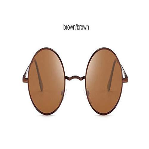FGRYGF-eyewear2 Sport-Sonnenbrillen, Vintage Sonnenbrillen, Classic Driving Polarized Round Sunglasses Männer Retro John Lennon Glasses WoMänner Metal Spring Leg Eyeglasses 8831 Brown Brown