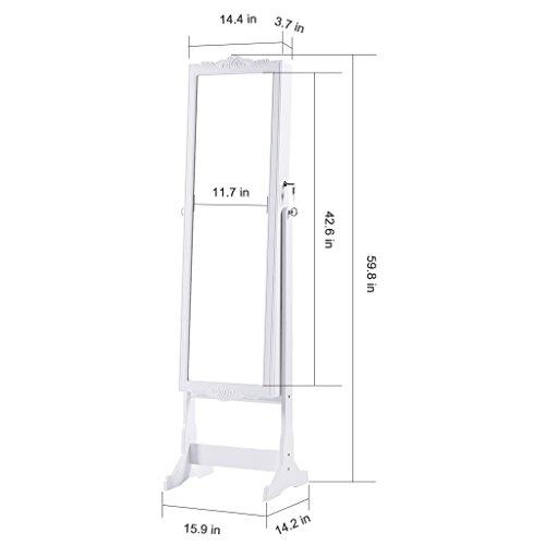 LANGRIA Schmuckschrank Floralen Geschnitzt Spiegelschrank, mit LED Beleuchtung, Abschließbar, Aufbewahrung für Schmuck und Kosmetik - 6