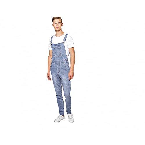 Mens Stonewash Blue Designer Denim Dungarees Dungaree Jeans Bib Overalls 32