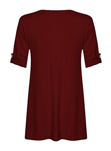 Fast Fashion - D'oscillation Robe Plus La Taille Tourner Les Manches De La Bouton -Femmes Vin