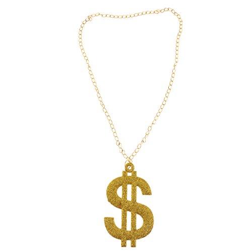 Glitter Bling USD Dollar Anhänger Hip Hop Abendkleid Kette Halskette Gold