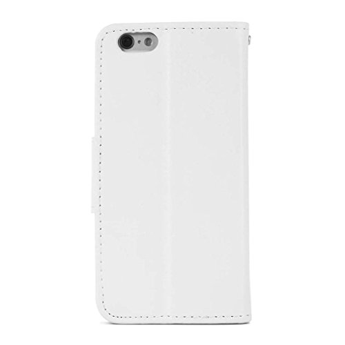 hyait® for iPhone 6/6S (4.7 Zoll) Case Flip Leather Fold Wallet Card Slot Bracket Back Pouch Cover White weiß