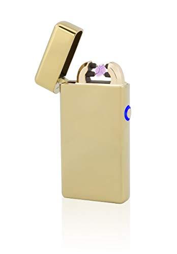 TESLA Lighter T08 Lichtbogen-Feuerzeug, elektronisches USB Feuerzeug, Double-Arc Lighter, wiederaufladbar, Gold