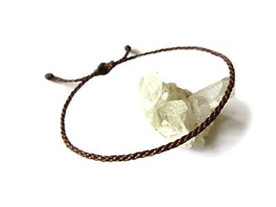 Bracelet corde/fil Marron Chocolat Foncé. Simple/Porte chance/Brésilien. Fait et tressé main avec du fil ciré et ajustable. Réf.#9