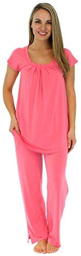 Kurzarm-Pyjama für damen von Sleepyheads aus atmungsaktiver Viskose mit taschen zweiteiliger schlafanzug(PMR385FUCHSIA-UK-XL)